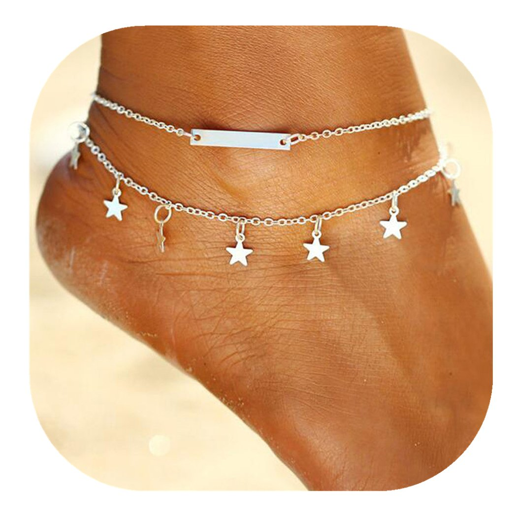 Molyveva Little Star Silver Double Chain Ankle Bracelet Barefoot Sandal Beach Foot Jewelry