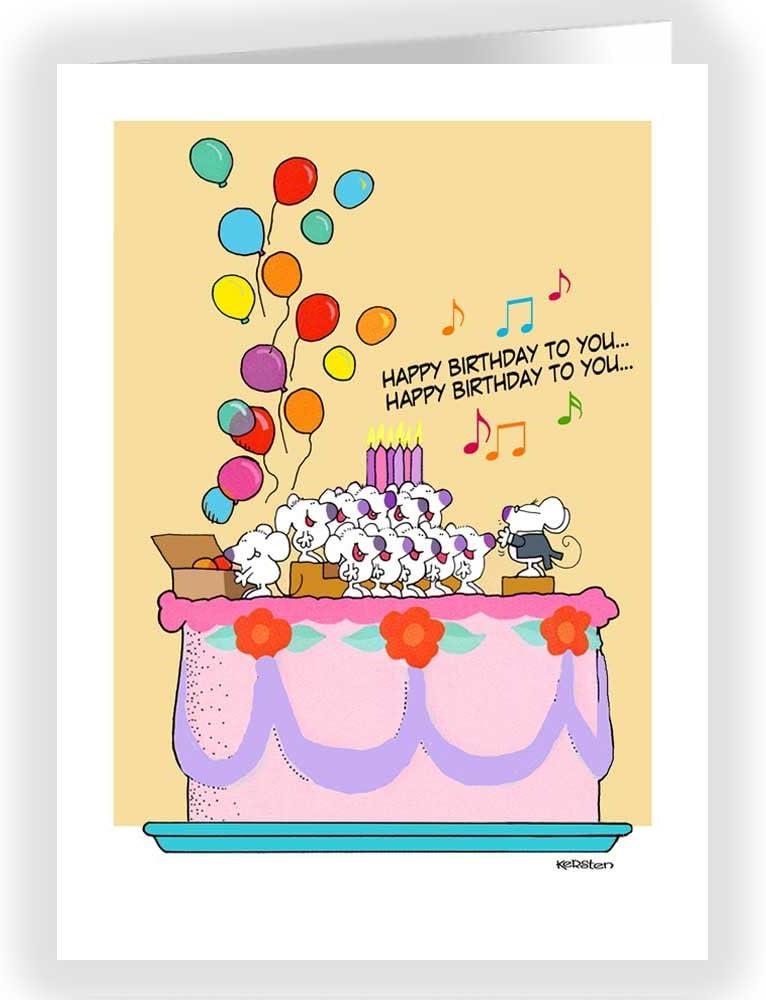 Astounding Amazon Com Cute Happy Birthday Card Mice Sing Happy Birthday Funny Birthday Cards Online Overcheapnameinfo
