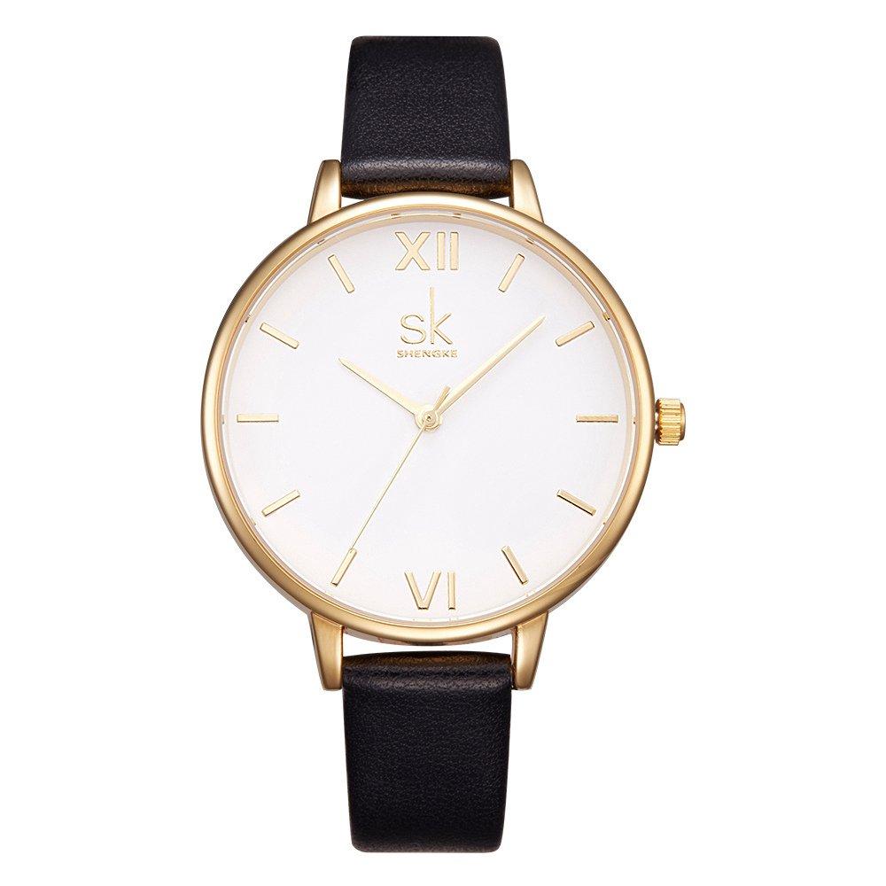 SK Women Watches Leather Band Luxury Quartz Watches Girls Ladies Wristwatch Relogio Feminino (Black 2)