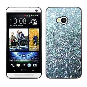 Glitter Plata chispeante Bling Platinum- Metal de aluminio y de plástico duro Caja del teléfono - Negro - HTC One M7