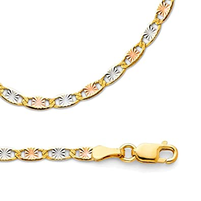 3de18d8413ee1 Amazon.com: Valentino Necklace Solid 14k Yellow White Rose Gold ...