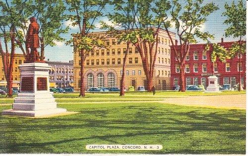 Vintage Unsent Linen Postcard Capitol Plaza Concord New Hampshire