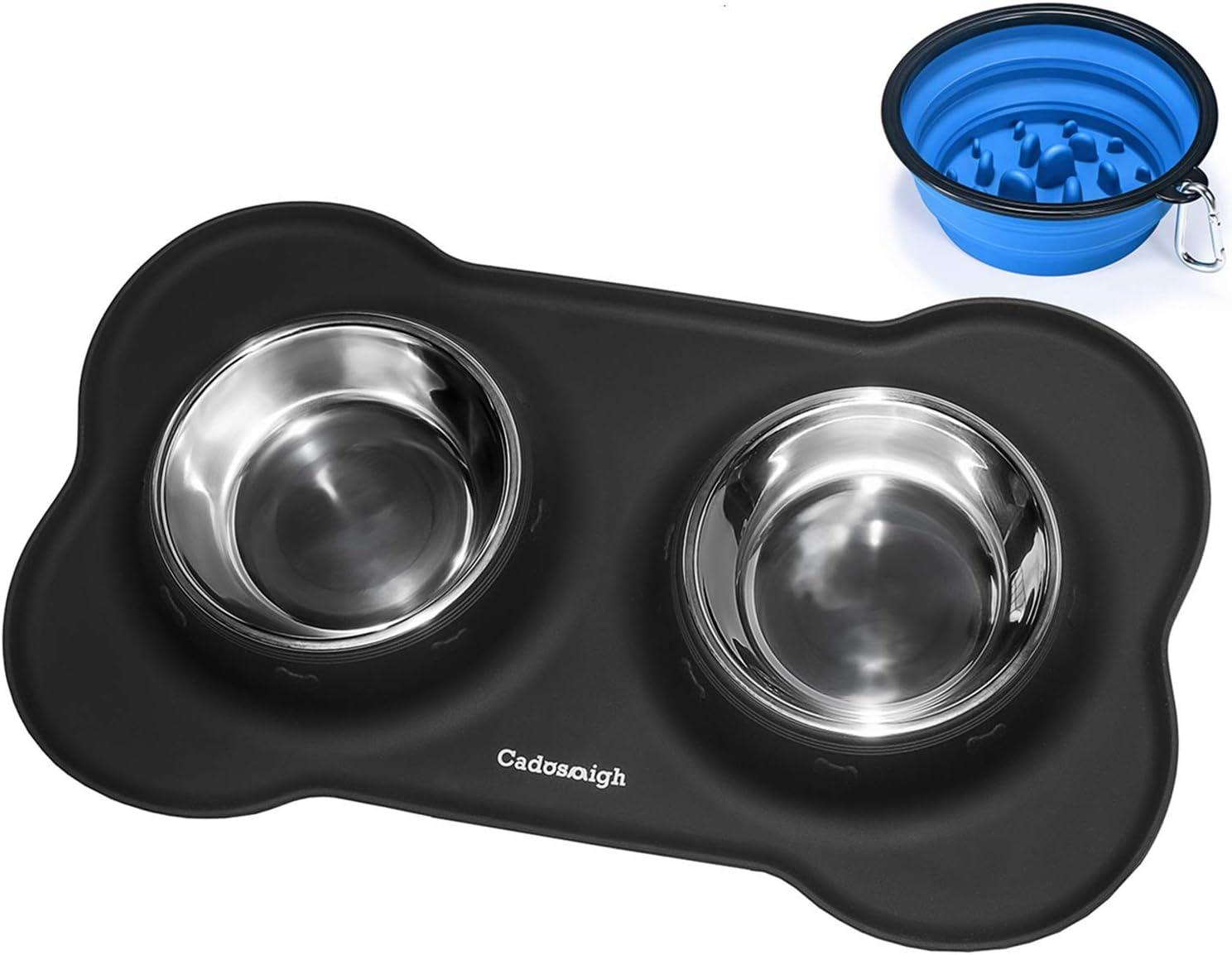 Cadosoigh Comedero para Gatos Perros Mascotas de Acero Inoxidable(2 * 12oz/400ml) con Base de Silicona Antideslizante,con Tazón Plegable