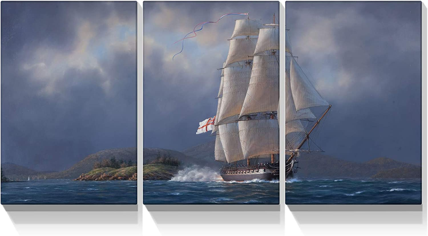Looife 3 Panels Nature Scenery Canvas Wall Art, 24x36 Inch 3 Pieces Sailboat on Stormy Sea Picture Prints Artwork Wall Decor, Gallery Wrapped Triptych Home Deco Set for Bedroom, Living Room