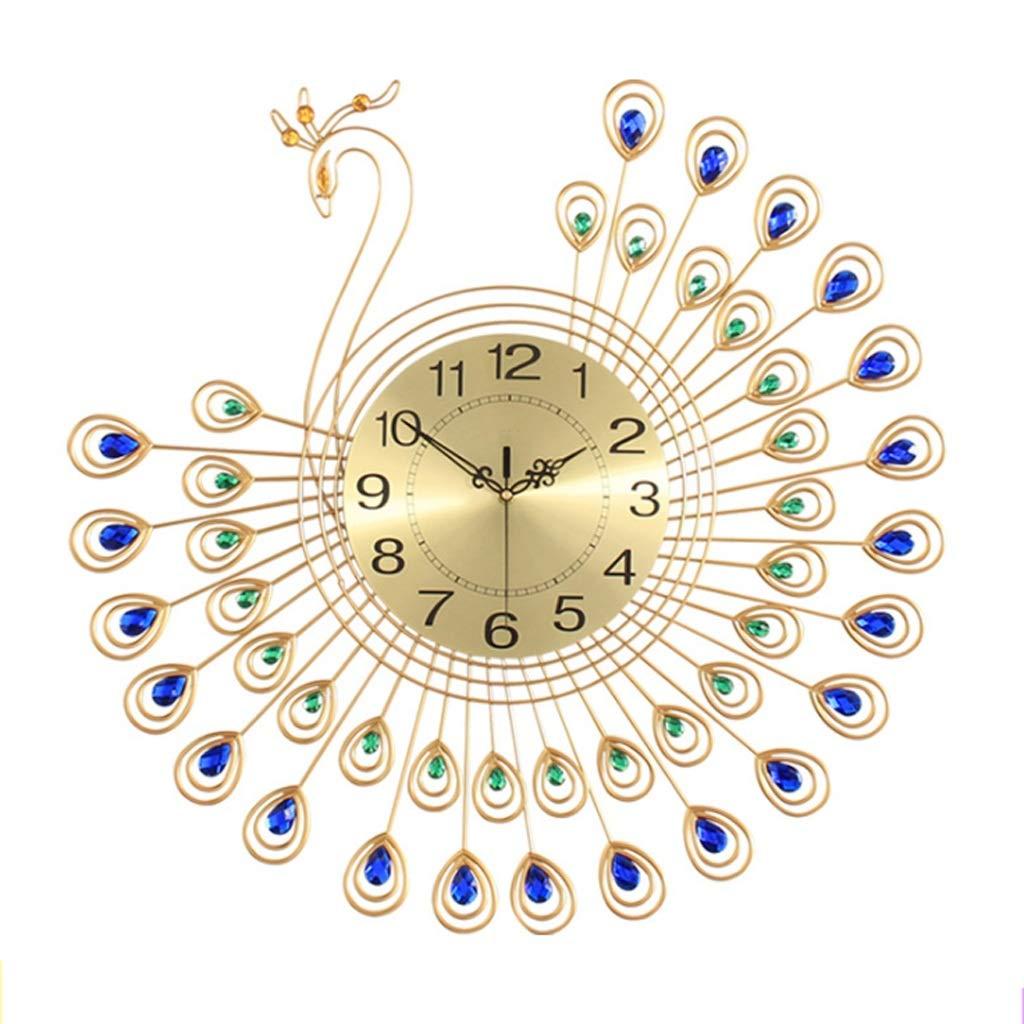 ヨーロッパの現代的なスタイルのリビングルームの時計テーブル創造的な孔雀鍛鉄の壁時計サイレントクォーツの壁時計   B07S6JQ34X