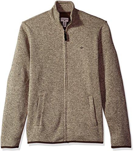 Dockers Men's Full Zip Sweater Fleece, Sierra Brown Heather, (Brown Heather Sweater)