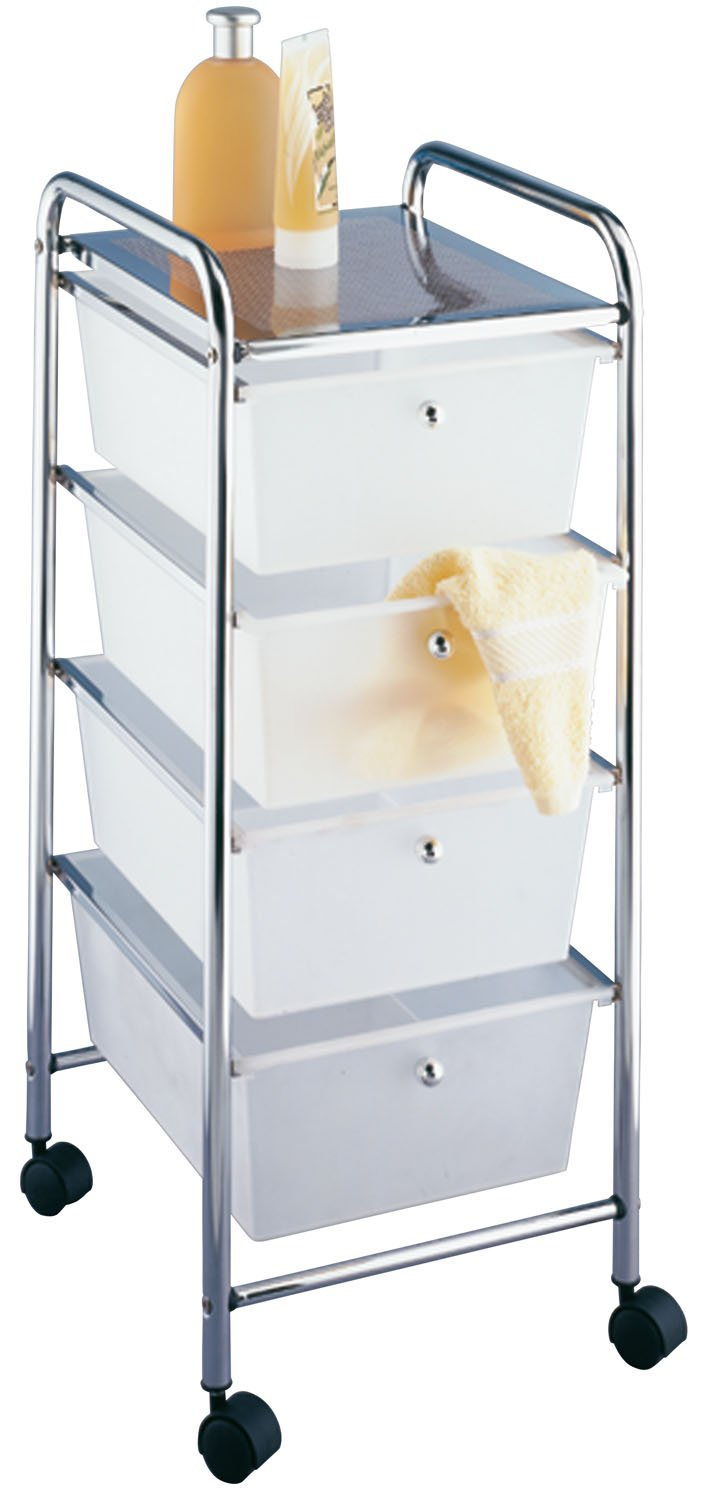 Wenko 16612100 Household and bathroom trolley Messina with wheels 4 drawers Metal Steel Chrome 33 x 80.5 x 39 cm