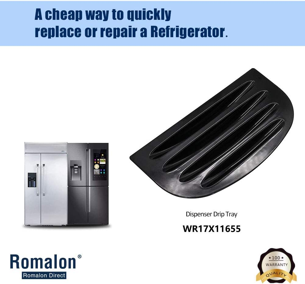 Romalon WR17X11655 Drip Tray Compatible With GE Refrigerator Drip Tray Grille Replace Number WR17X10895 AP3775570