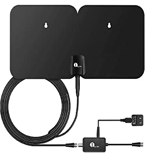 1byone 4K Double Panel HDTV Antenna, Indoor/Outdoor Amplified Digital TV Antenna Waterproof Support UHF VHF 4K Ultra HD Freeview Channels with 26ft Coaxial Cable