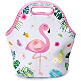 WERNNSAI Flamingo Lunch Bag - Neoprene Insulated Cooler Lunch Handbag Pouch Tropical Pineapple Pattern Outdoor Tote Bag…