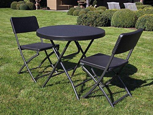 Toolland Estable y sólida Mobiliario de jardín con 2 sillas, plástico, Plegable, Negro, Mesa Redonda: Amazon.es: Deportes y aire libre