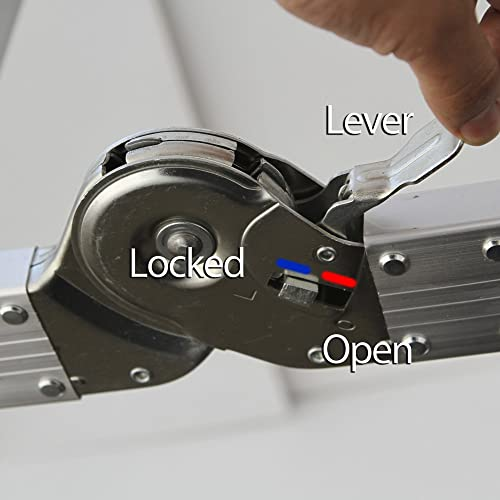 Safety lock of OxGord Folding Scaffold Ladder
