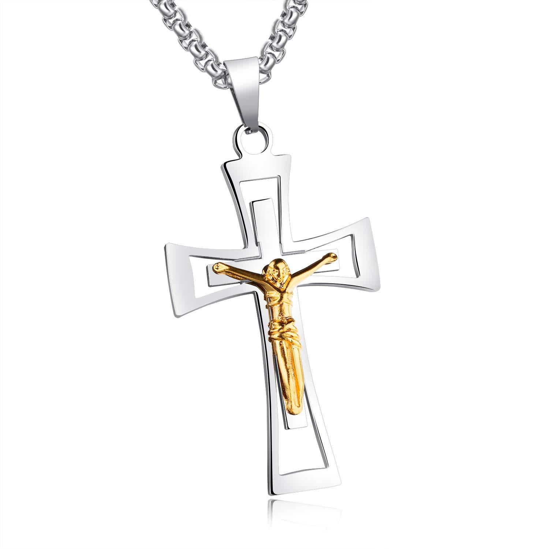MONIYA Jewelry Mens Stainless Steel Jesus Christ Cross Crucifix Pendant Necklace 21.6 Box Chain
