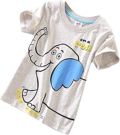Toddler Baby Kids Boy  Short Sleeve Cartoon  Print T-Shirt Tops Blouse