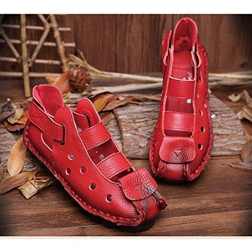 Piel Genuina El Cosido a Mano Suave Suela Zuecos Zapato Ultraligero Cómodo Sandalias Ajustable Ocio Verano Zapatillas Mujer Rojo