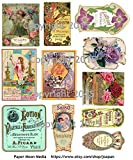 Victorian Vintage Perfume Labels Collage Sheet #102