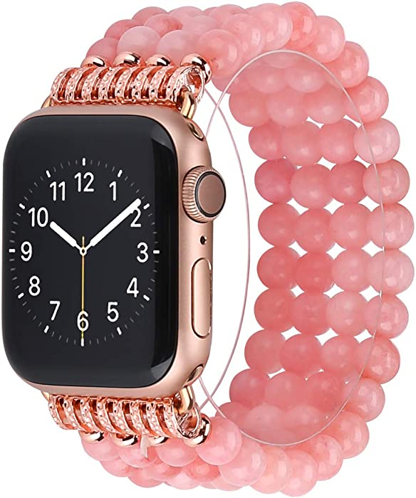 Compatible for Apple Watch Band 38mm 40mm 42mm 44mm, Adjustable Quartz Beaded Elastic Band Replacement Stretch Strap Compatible for iWatch Series 6/5/4/3/2/1