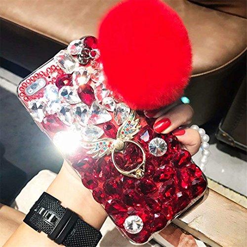 Alcatel Fierce 4 Case,Alcatel Allura Case,Alcatel Pop 4 Plus Full Diamond Case, Handmade Finger Buckle Luxury Fur Ball Sparkle Crystal Rhinestone Diamond Glitter Bling TPU Case (Angel/Red)