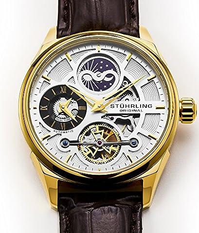 Stuhrling Original Dress Automatic Skeleton Men's Watch, Self Wind Wristwatch, Genuine Leather Strap, Gold (30mm Watch Face Protector)