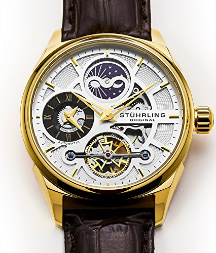 en's Luxury Skeleton Dress Watch, Automatic Movement, Yellow Gold Case, Silver Dial, Brown Calfskin Leather Band (Dial Yellow Gold Case)