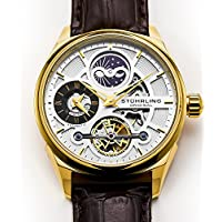Dress Automatic Skeleton Men's Watch, Self Wind Wristwatch, Genuine Leather Strap, Gold Accents