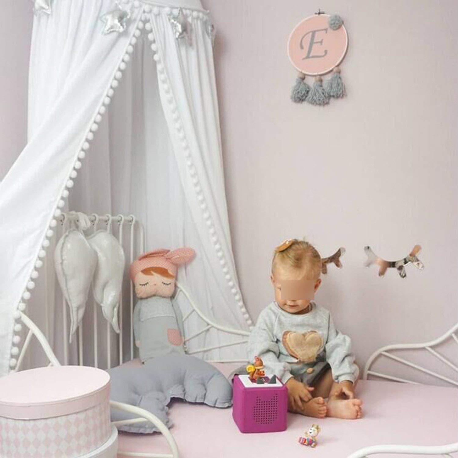 Cotton Baby Room Decoration Balls Mosquito Net Kids Bed Curtain Canopy Round Crib Netting Tent 245Cm,White,Length 245Cm Top Le by Try My Best Mosquito Net (Image #3)