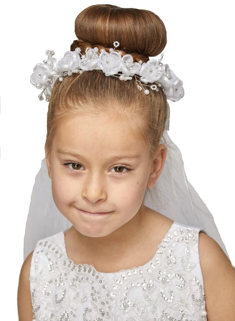 iGirlDress Girls White Floral Wreath Rhinestone Pearls First Communion Veil 430