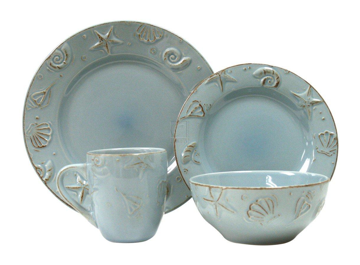 Cape Cod Set AQUA BLUE Dinnerware Sets Dinnerware Sets  sc 1 st  Amazon.com & Amazon.com | Thomson Pottery 16-pc. Cape Cod Set AQUA BLUE ...