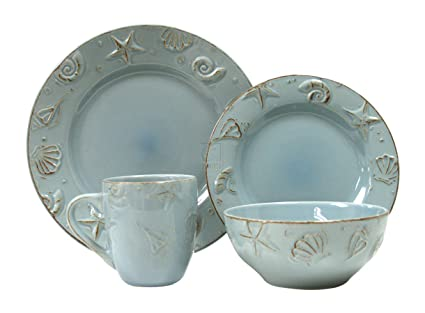 Amazon.com | Thomson Pottery 16-pc. Cape Cod Set AQUA BLUE ...