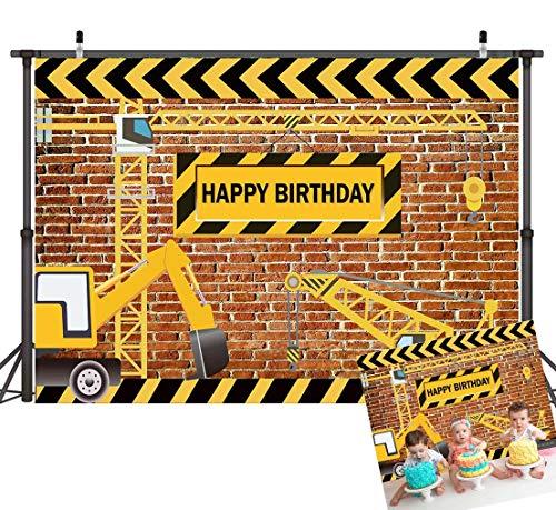Art Studio 7X5ft Construction Theme Birthday Party Photography Backdrops Brick Wall Dump Trucks Photo Background Children Boy Banner Decor Studio Props Vinyl