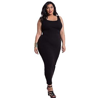 Women\'s Casual Ribbed Tank Maxi Dress - Plus Sizes