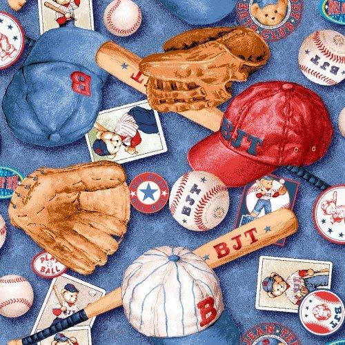 SheetWorld Fitted Crib / Toddler Sheet - Baseball Bear - Made In USA