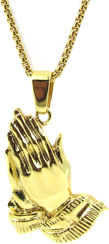 "crystal PRAYING HAND charm pendant GOLD FILLED 18K necklace 24/"" chain female men"