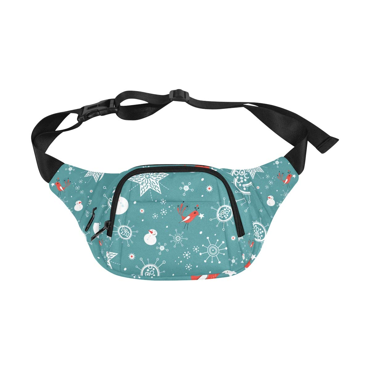 Christmas Snowflakes And Snowman Fenny Packs Waist Bags Adjustable Belt Waterproof Nylon Travel Running Sport Vacation Party For Men Women Boys Girls Kids