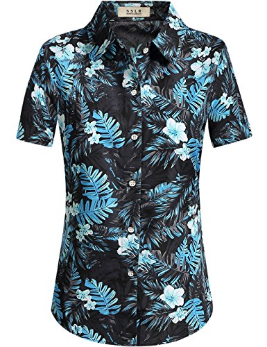 Hawaiian Street Shirt (SSLR Women's Jungle Prints Casual Blouse Short Sleeve Aloha Hawaiian Shirt (Medium, Black Grey))