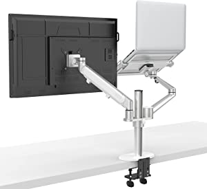 ProCase Monitor and Laptop Mount, Adjustable Dual Arm Desk Mounts, Single Gas Spring Arm Monitor Stand Fits 17-32 Inch Computer Screen, Laptop Tray for 12-17 Inch Laptops –Silver
