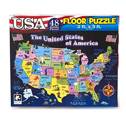 Educational USA Floor Map 48 Piece Floor Puzzle Measures 24 x 36 Inches Filled With Interesting And Exciting Information A bout All The States by PUZZLES USA