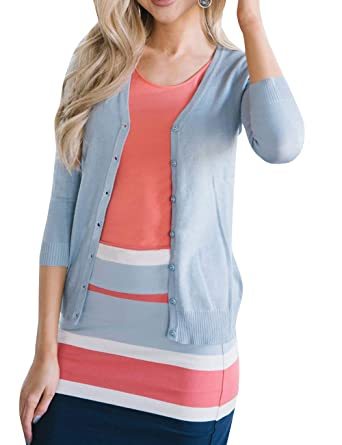 326d233259 Huiyuzhi Women s Classic Button Down 3 4 Sleeve Open Front Knit Cardigan  Sweater at Amazon Women s Clothing store