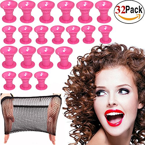 Hair Curlers Rollers Silicon Hair Style Rollers Soft Magic DIY Hair Style Tools with Nat Cap (Soft Hair Rollers)