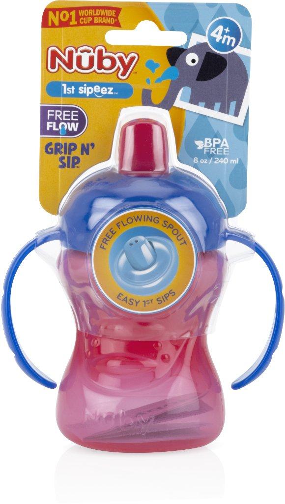 Nuby 1988298 2-Handle Free Flow 8 oz Cup with Flip-It Spout - Case of 72