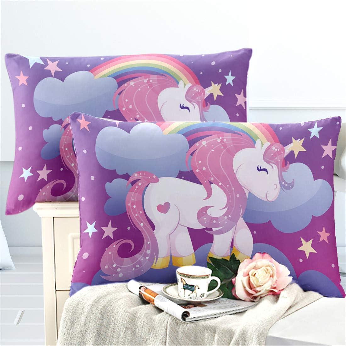 Oliven 4 Pcs Cartoon Unicorn Sheets Queen Size,Fitted Sheets Set Queen,Bed Sheets White Unicorn Floral Bedding Set Girls Gift Home Decor