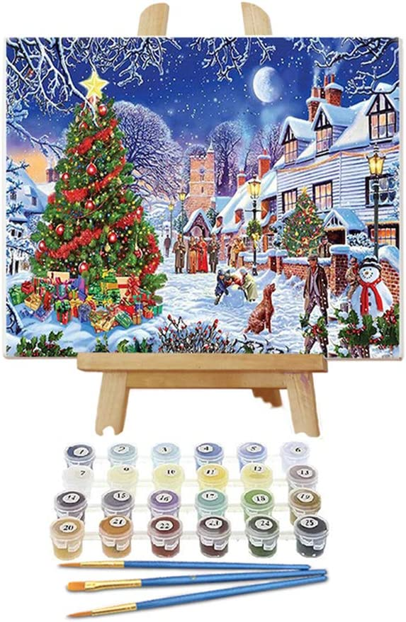 """Chenistory Wooden Framed Painting by Numbers for Adults DIY Oil Paint Kits Draw On Canvas for Kids Size 12""""X16"""" Paints by Number with Frame for Home Decoration- Street Landscape"""