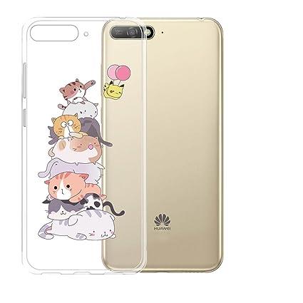 DYSu Funda para Huawei Y6 2018 Gato Pikachu Transparente ...