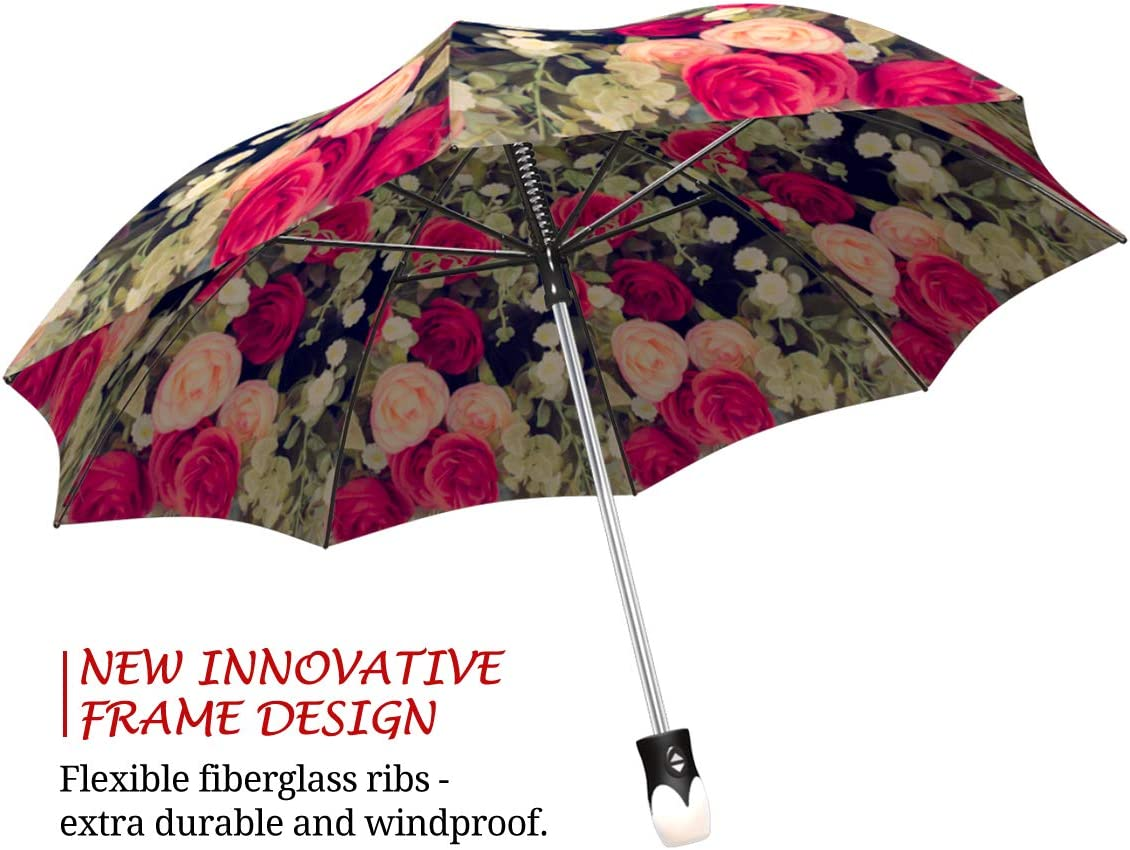 Peronalization Option Auto Open /& Close Automatic Rain Umbrella with black star burst electrical pop design with red dots and curvy lines