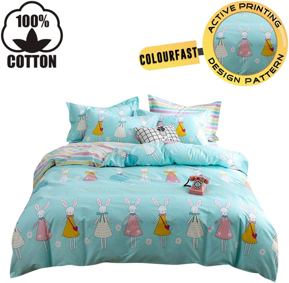 XUKEJU Reversible 3 Pieces Rabbit Princess Duvet Cover Cartoon Animal Print Bedding Set 100% Cotton Quilt Cover Full/Queen Size Boys/Girls