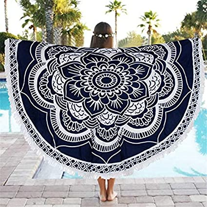 YULong Round Beach Towel 150cm Polyester Beach Towel Adults Tablecloth Toalla Playa Mandala Serviette De Plage