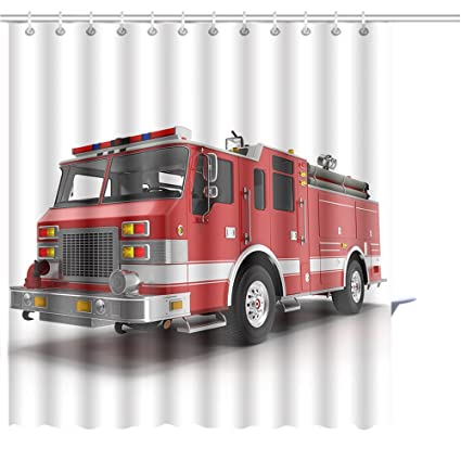 Image Unavailable Not Available For Color Zoyon Shower Curtain Big Red Fire Truck