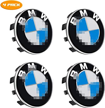 BMW Wheel Center Caps Emblem 68mm BMW Rim Center Hub Caps for All Models with BMW Wheels Logo Blue /& White Color Enseng Set of 4