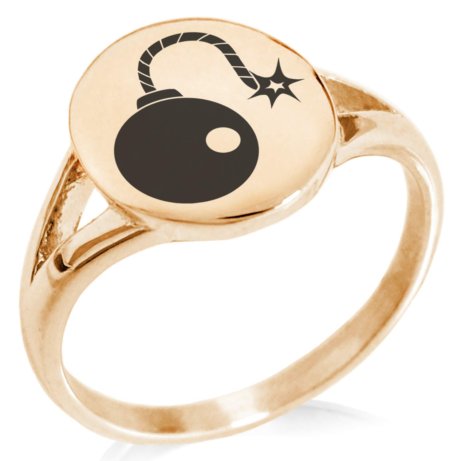 Tioneer Stainless Steel Pirate Bombardier Icon Minimalist Oval Top Polished Statement Ring