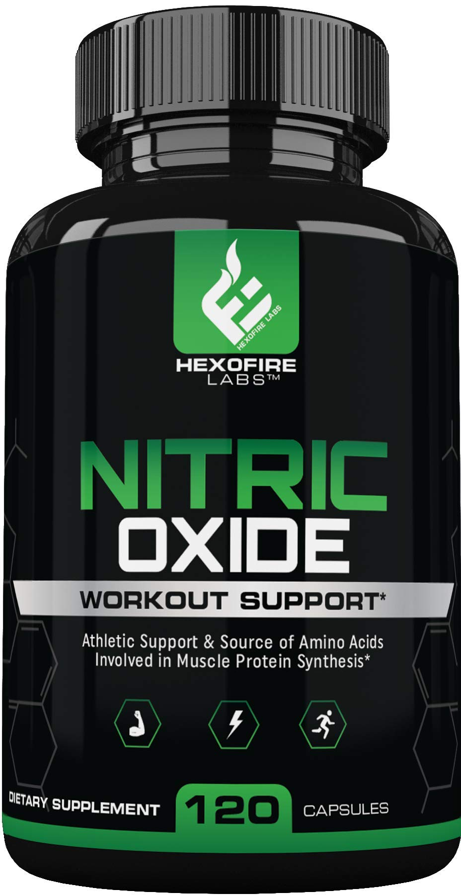 HexoFire Labs Nitric Oxide, Nitric Oxide Workout Support Capsules, L-Citrulline DL Malate L-Arginine & 9 Vitamin Blend, 120 Capsules (30 Day Supply)